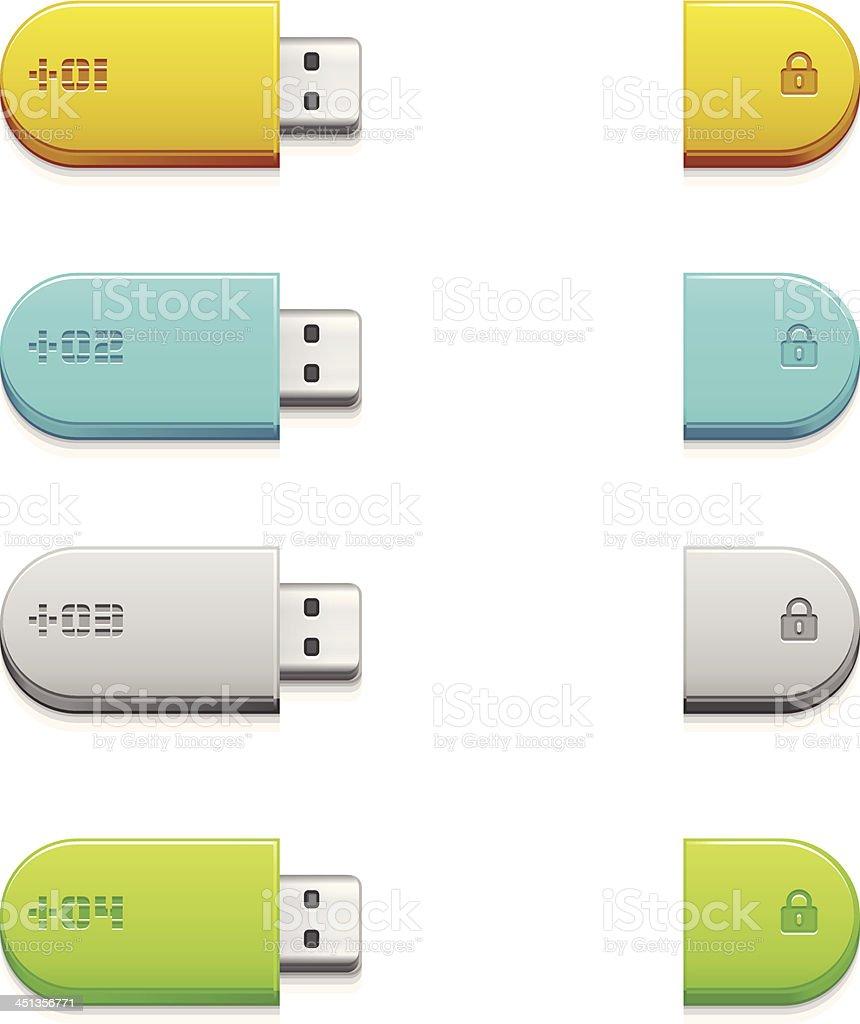 Flash drive  memory key royalty-free stock vector art