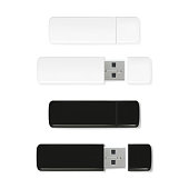 USB flash drives vector illustration of 3D realistic memory stick. Black and white plastic mockup model of portable data storage with closed and caps isolated on transparent background