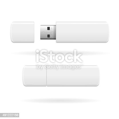 USB Flash Drive White and Empty. Vector illustration