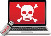 USB flash drive with computer virus and infected laptop. Vector illustration