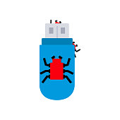 flash drive with virus. Vector illustration