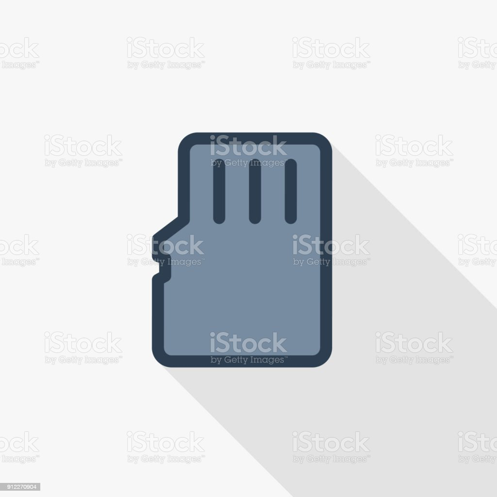Flash memory SD card thin line flat color icon. Linear vector symbol. Colorful long shadow design.
