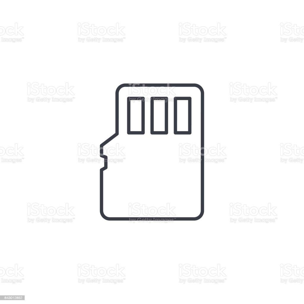 Ilustración de Flash Icono De Delgada Línea De Tarjeta De Memoria Sd ...