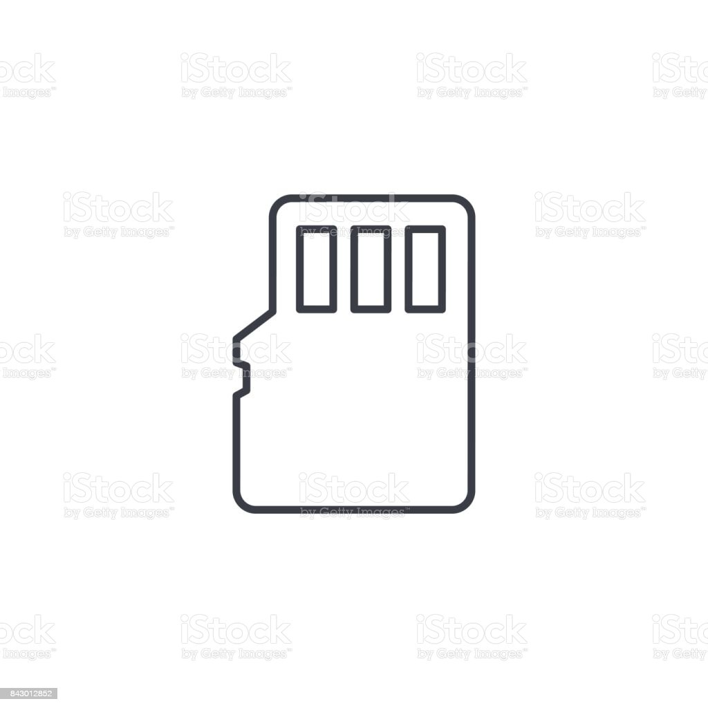 Flash memory SD card thin line icon. Linear vector symbol vector art illustration