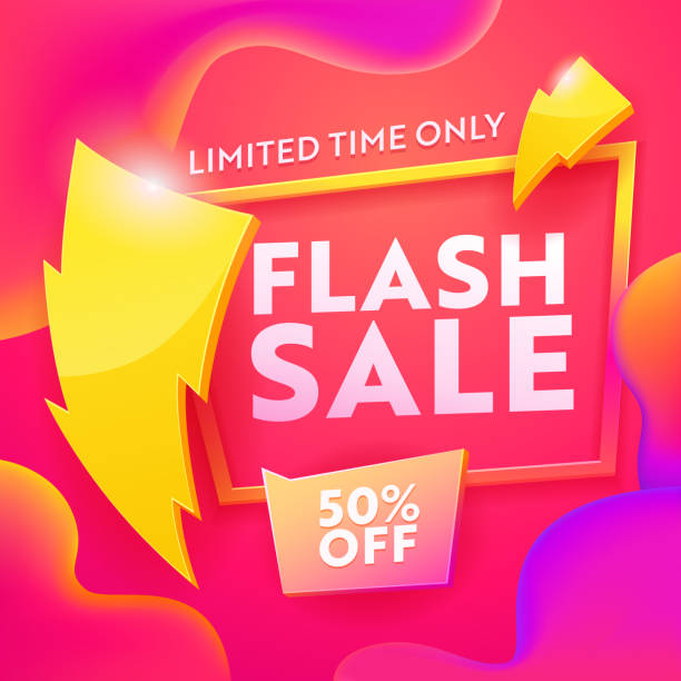 Flash Sale Advertising Modern Banner. Business Ecommerce Discount Promotion Gradient Template. Lightning Sign on Marketing Shopping Coupon Poster Design Vector Illustration Flash Sale Advertising Modern Banner. Business Ecommerce Discount Promotion Gradient Template. Lightning Sign on Marketing Shopping Coupon Poster Design Vector Illustration commercial event stock illustrations