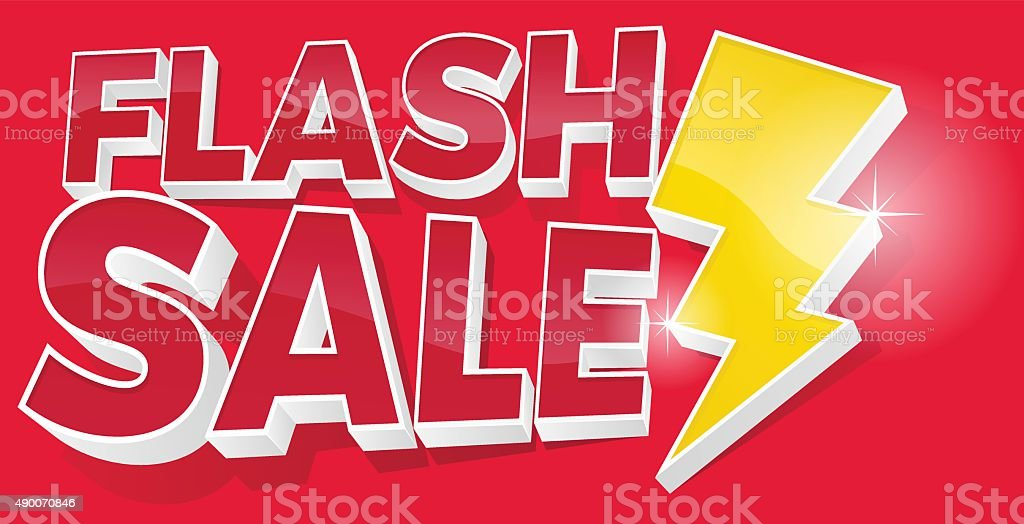 3D Flash Sale and Lightening Bolt Promotional Sign - Royalty-free 2015 stock vector