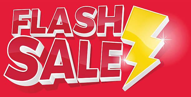 3D Flash Sale and Lightening Bolt Promotional Sign vector art illustration