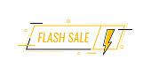 Flash sale. Badge with lightning bolt. Banner template design for business, marketing and advertising. Modern flat style vector illustration.