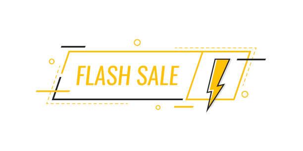 illustrazioni stock, clip art, cartoni animati e icone di tendenza di vendita flash. distintivo con fulmine. progettazione di modelli banner per aziende, marketing e pubblicità. illustrazione vettoriale in stile piatto moderna - titolo mondiale