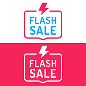 Flash sale. Badge with lightning icon. Flat vector illustration on white and red background.
