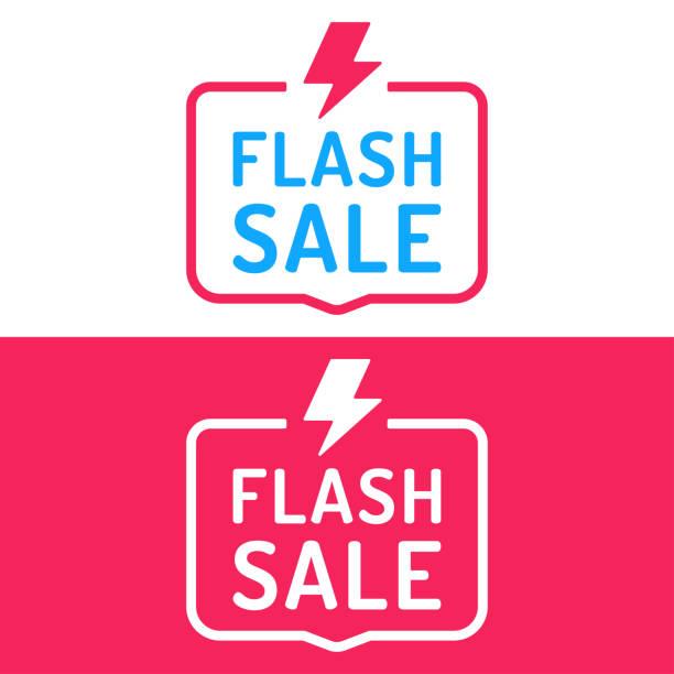 illustrations, cliparts, dessins animés et icônes de vente flash. un insigne avec l'icône de la foudre. illustration vectorielle plane sur fond blanc et rouge. - éclairage au flash