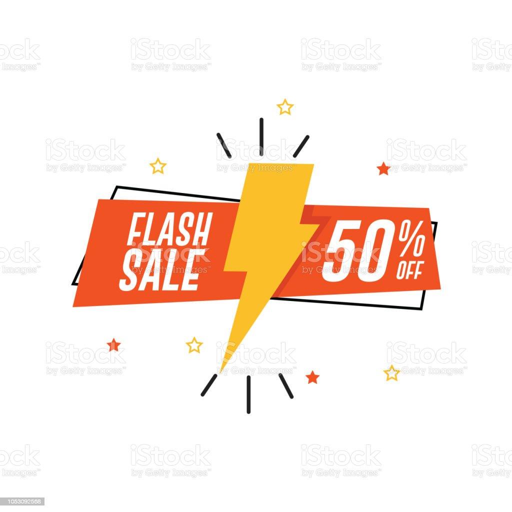 Flash Sale Banner. 50% Off royalty-free flash sale banner 50 off stock illustration - download image now