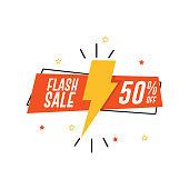 Flash Sale Banner. 50% Off
