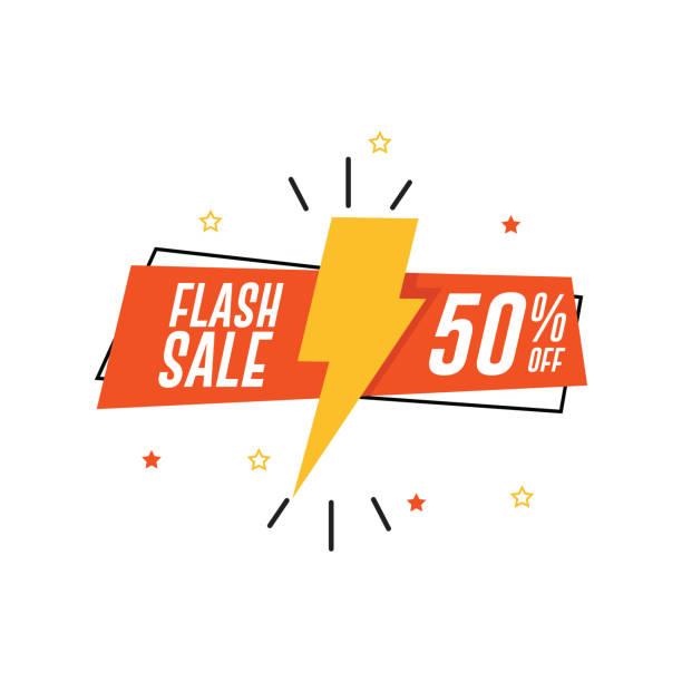 illustrations, cliparts, dessins animés et icônes de flash bannière de vente. 50 % de réduction - éclairage au flash