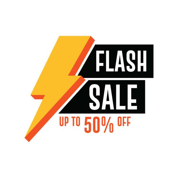 illustrations, cliparts, dessins animés et icônes de flash bannière de vente. jusqu'à 50 % de réduction - éclairage au flash