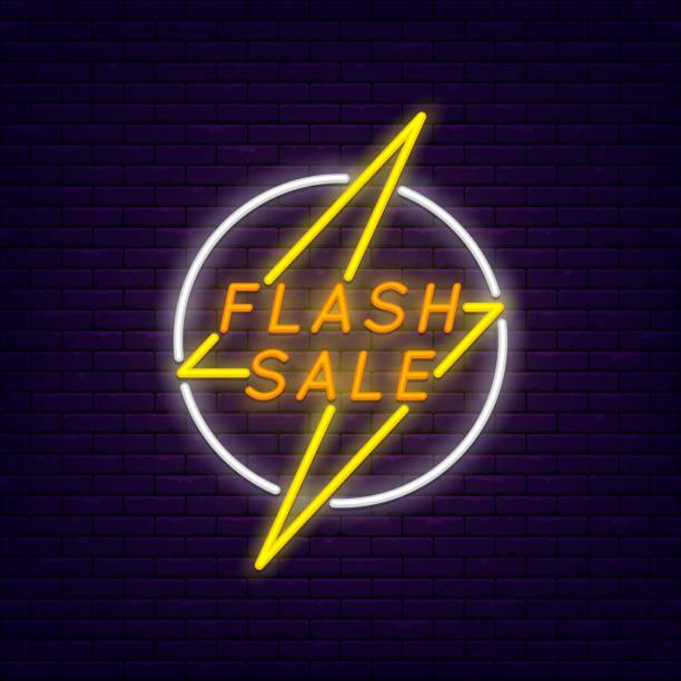 illustrations, cliparts, dessins animés et icônes de bannière flash vente - éclairage au flash