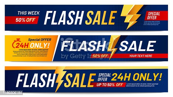 Flash sale banners. Lightning offer sales, only now deals and discount offers lightnings banner layout. Retail promotional advertising flashes discount label tag vector illustration set