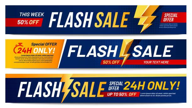 illustrations, cliparts, dessins animés et icônes de bannières de vente flash. lightning offre des ventes, seulement maintenant offres et rabais offre éclairs bannière mise en page vecteur illustration ensemble - éclairage au flash