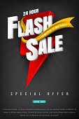 Flash sale bright banner or poster.