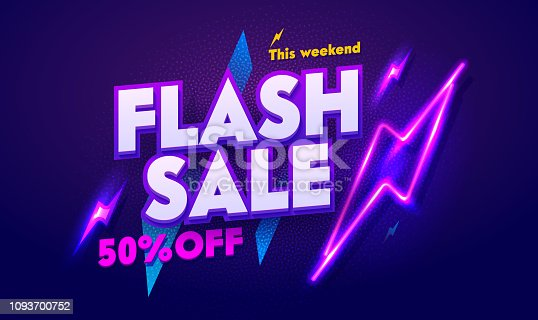 Flash Sale Neon Light Typography Banner. Discount Night Advertising Glow Electric Billboard. 3d Glossy Horizontal Shape Laser Special Poster Signboard. Dark Purple Web Layout Vector Illustration