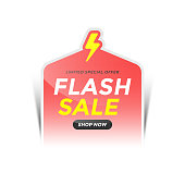 istock Flash Sale Paper Sticker. Limited Special Offers and Discount Color Sticker Template Vector Design on White Background. 1345667529