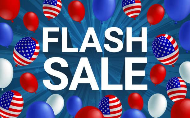satılık poster afiş afiş vektör çizim flash. amerikan bayrağı balon mavi arka plan tasarımı. tatil kutlama konsept reklam. - columbus day stock illustrations
