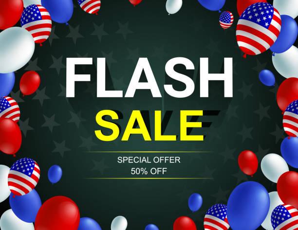satılık poster afiş afiş vektör çizim flash. amerikan bayrağı balon koyu arka plan tasarımı. tatil kutlama konsept reklam. - columbus day stock illustrations