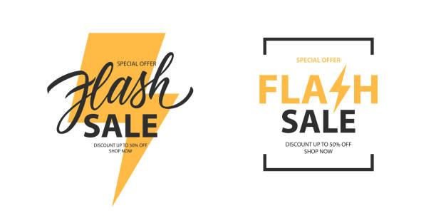 stockillustraties, clipart, cartoons en iconen met flash sale promotionele etiketten templates set. speciale aanbieding tekst ontwerp met thunder teken en hand belettering voor zaken, korting winkelen, verkooppromotie en reclame. - uitverkoop