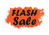 Flash sale. Quote for advertising banner, discount, brush stroke. Speech phrase on orange background. Vector illustration