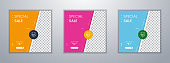 Flash sale social media post template design with trendy abstract square style. Can be use for social media posts, mobile apps, banners design and web/internet ads