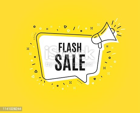Flash Sale. Megaphone banner. Special offer price sign. Advertising Discounts symbol. Loudspeaker with speech bubble. Flash sale sign. Marketing and advertising tag. Vector