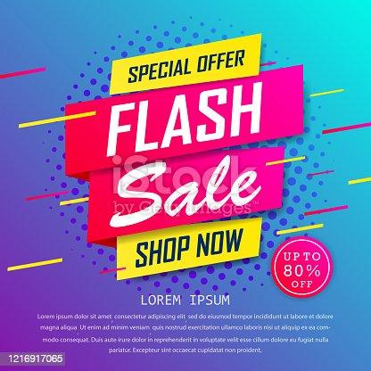 istock Flash sale special up to 80% off. super sale, end of season special offer banner. sale banner template design background. vector illustration typography banner design concept. 1216917065