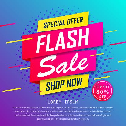 Flash sale special up to 80% off. super sale, end of season special offer banner. sale banner template design background. vector illustration typography banner design concept.