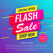 istock Flash sale special up to 80% off. super sale, end of season special offer banner. sale banner template design background. vector illustration typography banner design concept. 1216917065