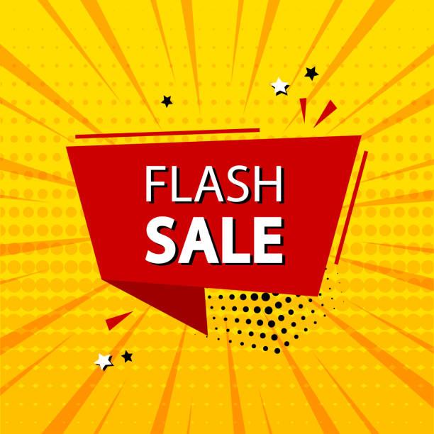 illustrations, cliparts, dessins animés et icônes de vente flash. promotion de bannière de modèle avec le ruban, escompte. effets sonores comiques dans le style pop art. vecteur - effets sonores