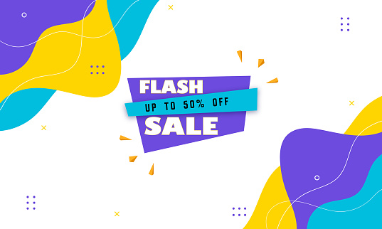 Flash Sale Up To 50% Off. Flash sale banner, special offer and sale. Sale banner template design background.