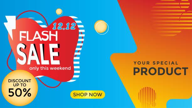 bannerlar, broşürler, web şablonları, hafta sonu promosyonları için metinde flaş satış indirimleri - sale stock illustrations