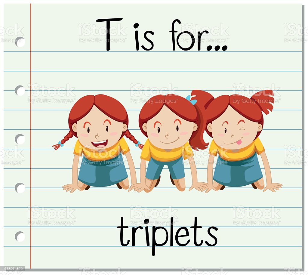 flashcard alphabet t is for triplets アルファベットのベクター