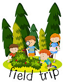 Flashcard for field trip with kids learning in garden