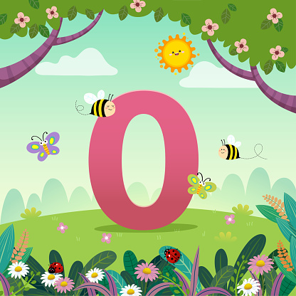 Flashcard for kindergarten and preschool learning to counting number 0 with a number of kids