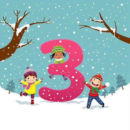 Flashcard for kindergarten and preschool learning to counting number 3 with a number of kids.