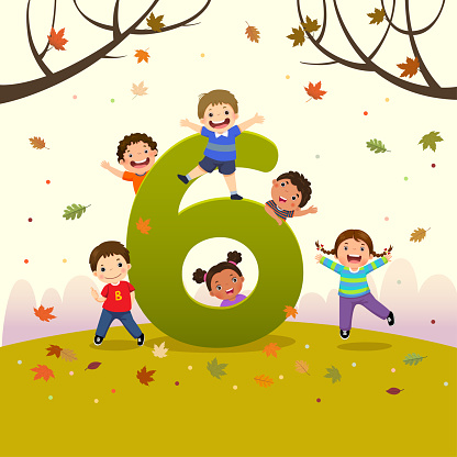 Flashcard for kindergarten and preschool learning to counting number 6 with a number of kids.