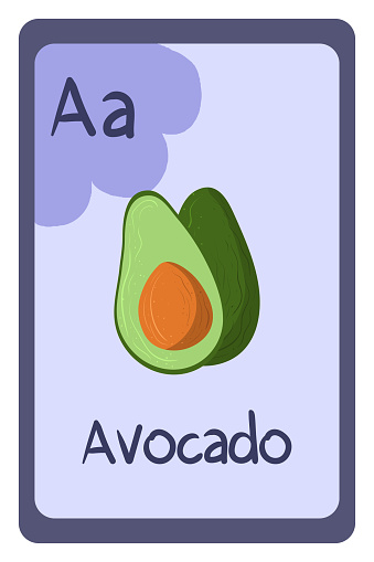 ABC flashcard letter A for avocado