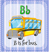 Flashcard letter B  bus