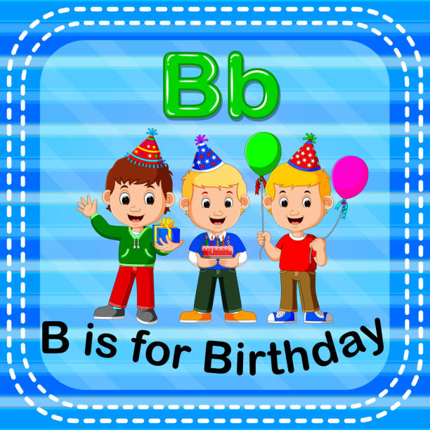 flashcard letter b is for birthday stock vector art more images of alphabet 902754024 istock