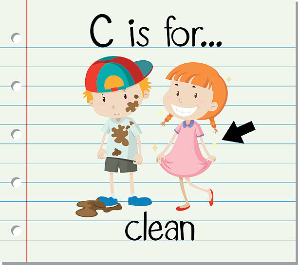 ilustrações de stock, clip art, desenhos animados e ícones de letra flashcard c é para limpar - teacher school solo