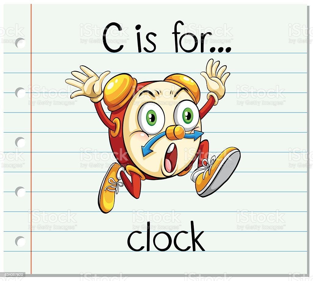 Flashcard Letter C Is For Clock Stock Illustration