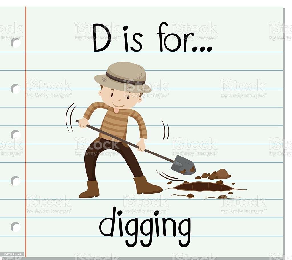 Flashcard letter D is for digging vector art illustration