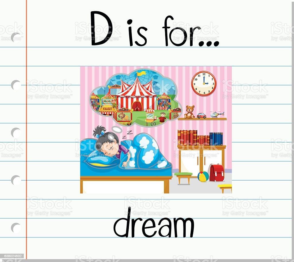 Flashcard letter D is for dream vector art illustration