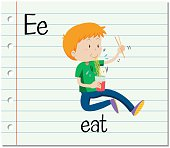 Flashcard letter E is for eat